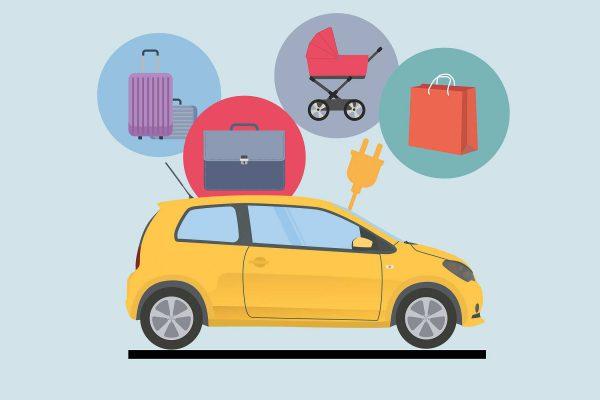 Illustration E-Auto mit Koffer, Einkaufstüte und Kinderwagen