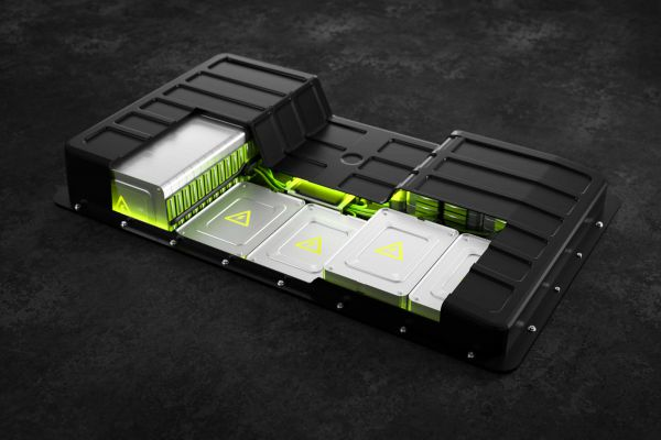 Der Querschnitt einer E-Auto-Batterie.