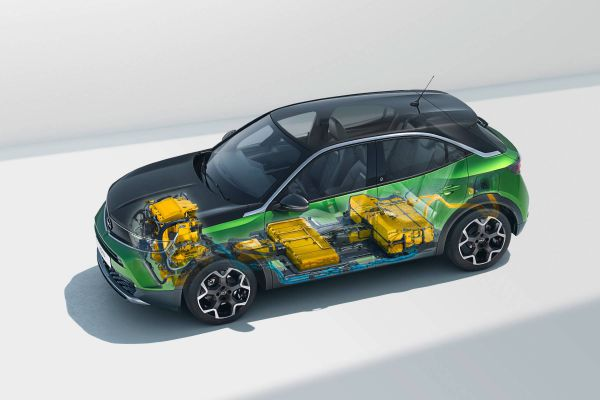 Grafik, wo sich die Batterie im neuen Opel Mokka-e befindet